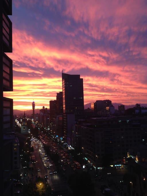 Another stunning sunset over the main street, looking west (balcony view)