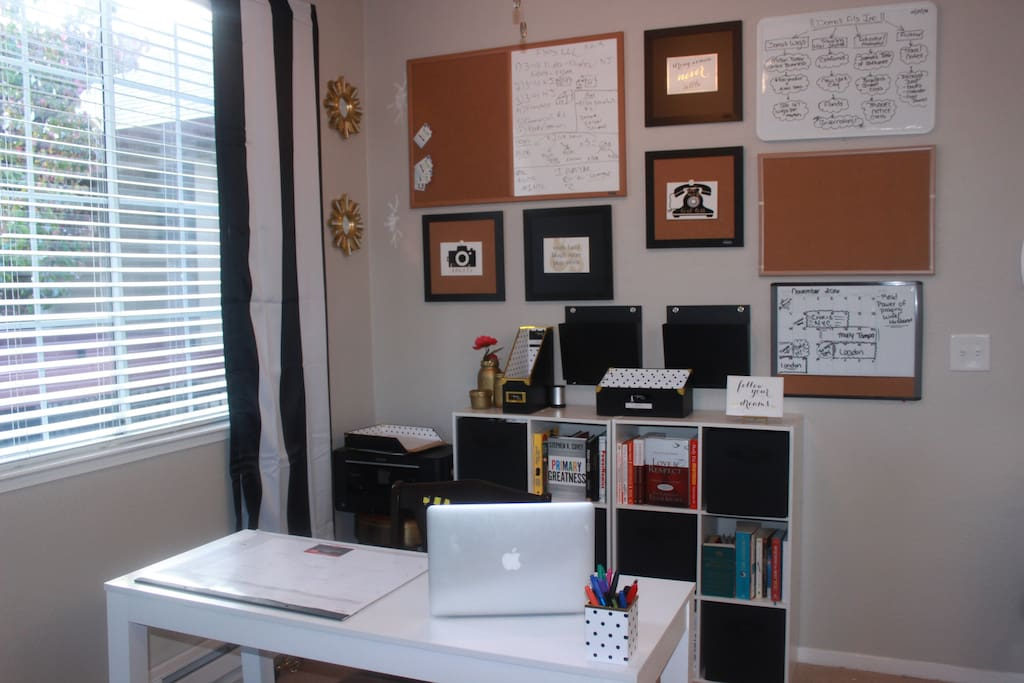 Work area for students or business travelers.