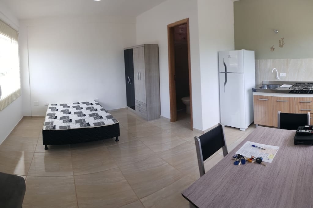 fully furnished , double bed, wardrobe, single sofa bed , table with 4 chairs , sink, stove , refrigerator duplex and tank