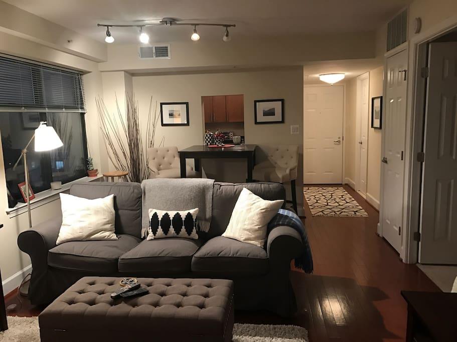 Warm, open space...  Bedroom doors to the side.
