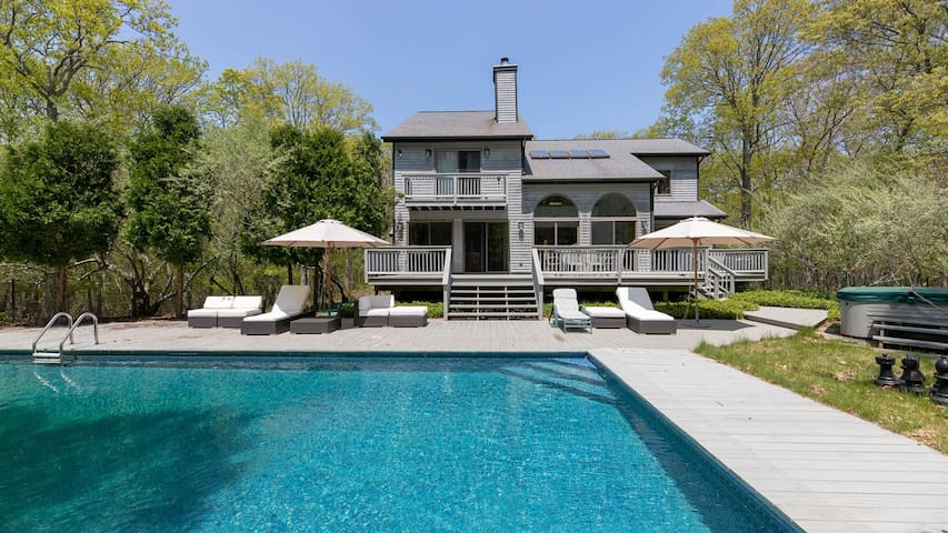 Sunlit & Secluded Sag Harbor Home on 10 Acres w/ Heated Pool, Hot Tub, Tennis & Basketball Courts