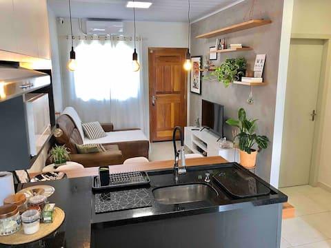 Casa inteira com ar, cozinha gourmet, 2 quartos.