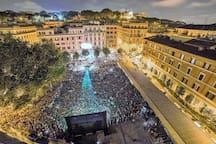Aerial views of the square Piazza Vittorio Emanuele II