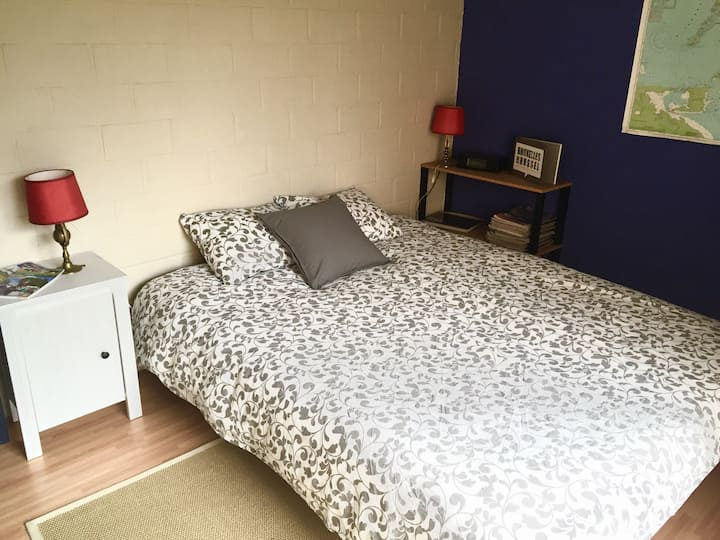 Double bed room with garden
