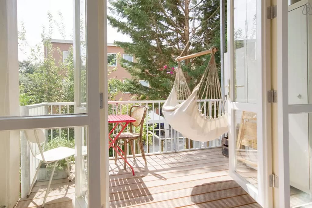 Great large balcony located south, with hammock.