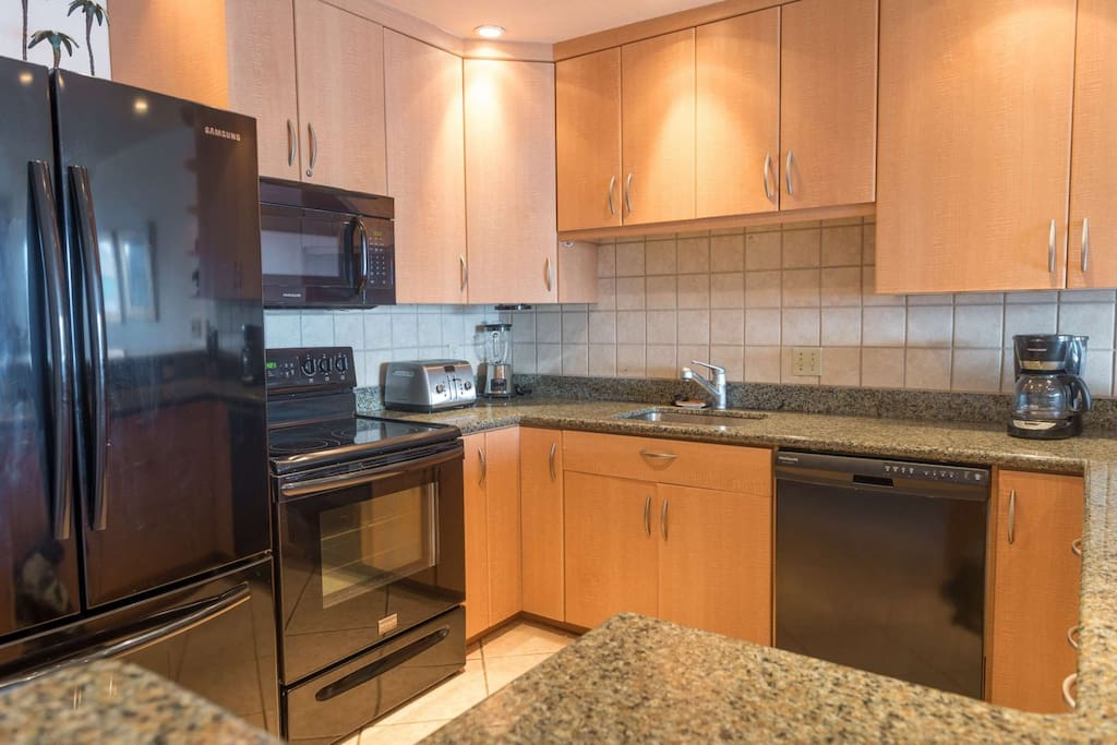 Fully equipped kitchen with everything needed to prepare home cooked meals.