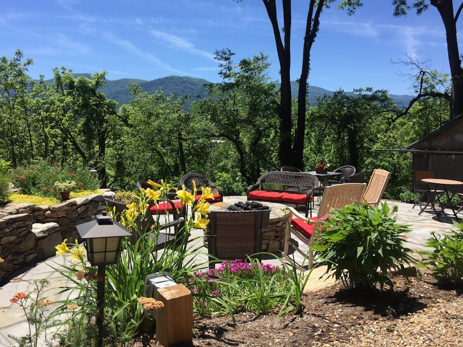Mountain views from our fire pit terrace!