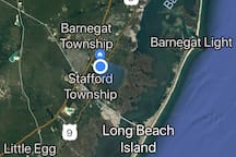 "Area map.  Located in Manahawkin, Stafford Twp.  ""Gateway to LBI"""