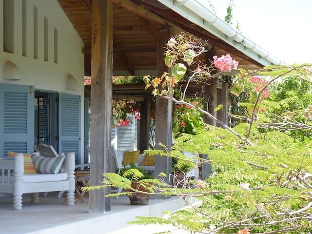 One of the big verandas overlooking the ocean