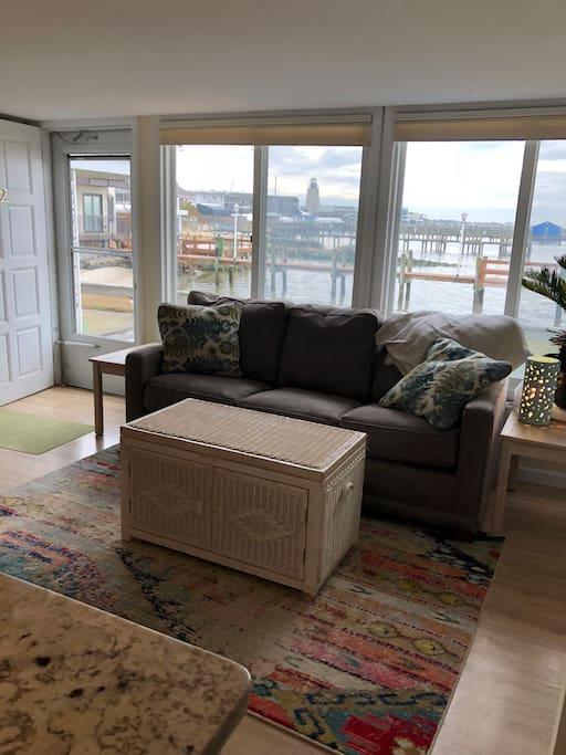 Floor to ceiling windows with gorgeous views of Rehoboth Bay