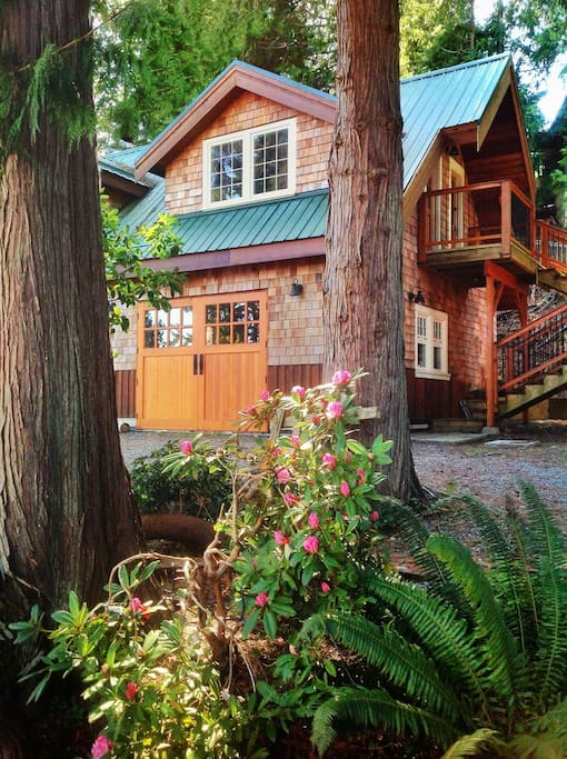 The Carriage House is tucked beneath a 600 year-old Douglas Fir tree. Not only is it the place where eagles love to perch, but there's an eagle's nest at the top.