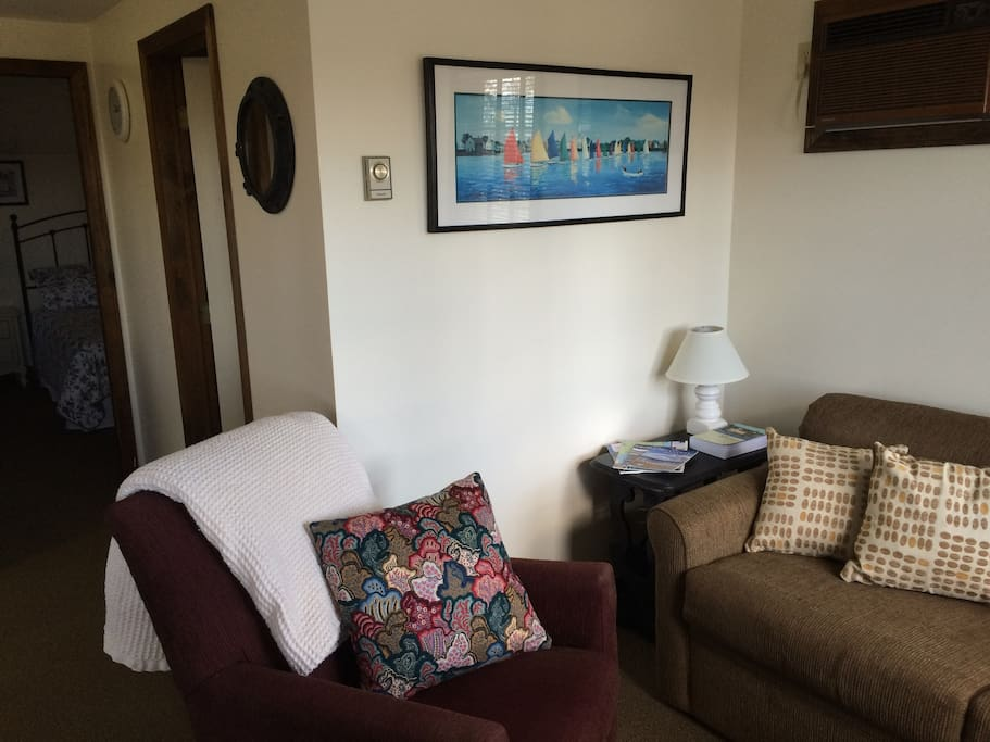 Living Room with Full size sofa bed