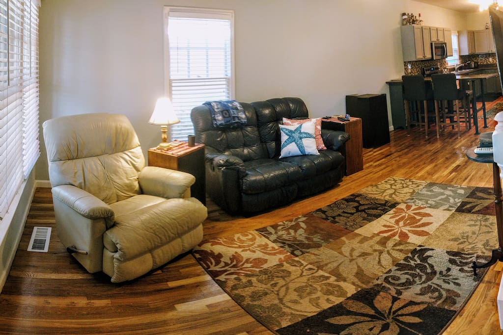 The living space has a large, spacious open floor plan