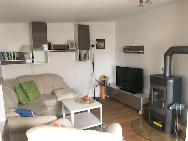 Wohnzimmer mit Fernseher und Kaminofen