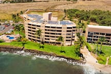 Arial view of Island Sands Resort.  Our lanai is 4th from the left, front and center between the two palm trees.  This photo provides a great view of the little sandy beach just steps from our ground-floor lanai.