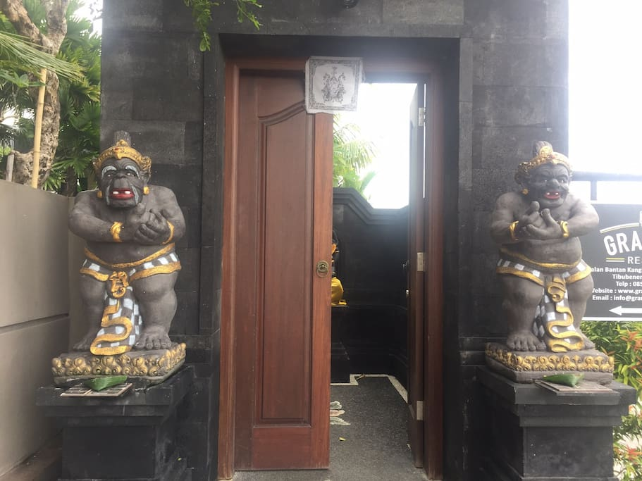 Two statues will welcoming you with their unique figure as a Balinese Hindu philosophy.