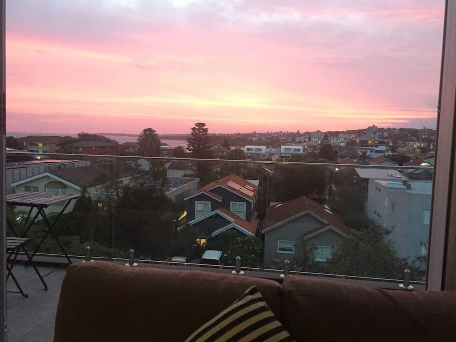 Ocean views and sunset from the sofa!