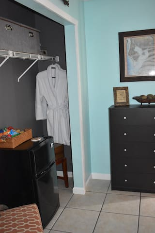 You'll find robes in your closet suite.