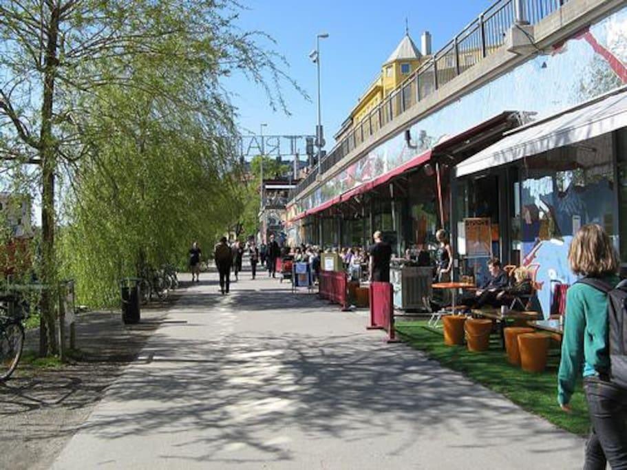 Hornstull Strand, just around the corner - nice bars and restaurants