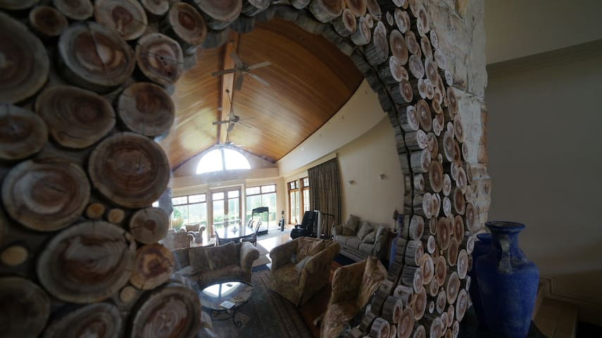 handmade mirror view of the lounge