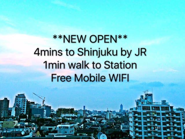 4分钟抵达新宿站/1分钟步行至JR东中野站/免费移动WIFI - Nakano - Apartamento