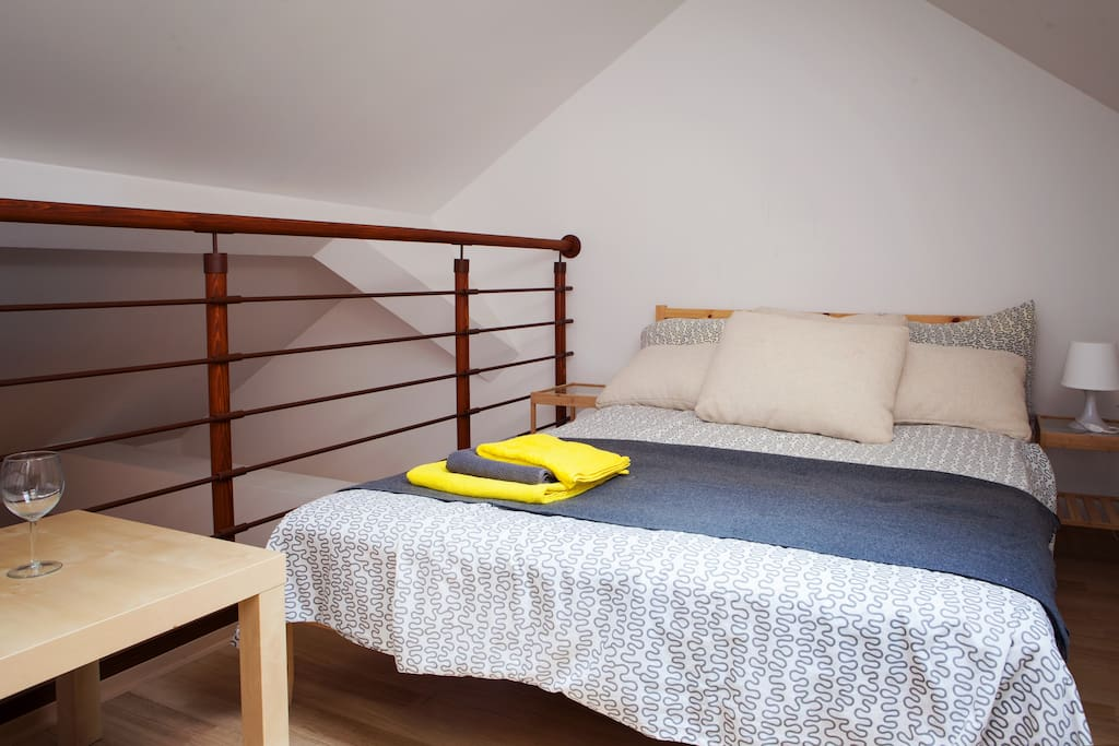 King sized bed upstairs