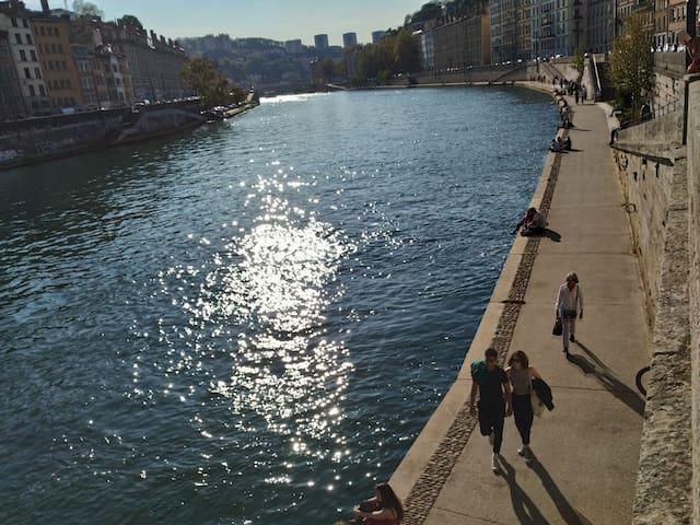 City center, along river Saône, facing vieux Lyon