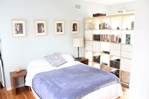 Bedroom: Cheerful, Comfortable full size bed, closet, dresser, desk and chair.