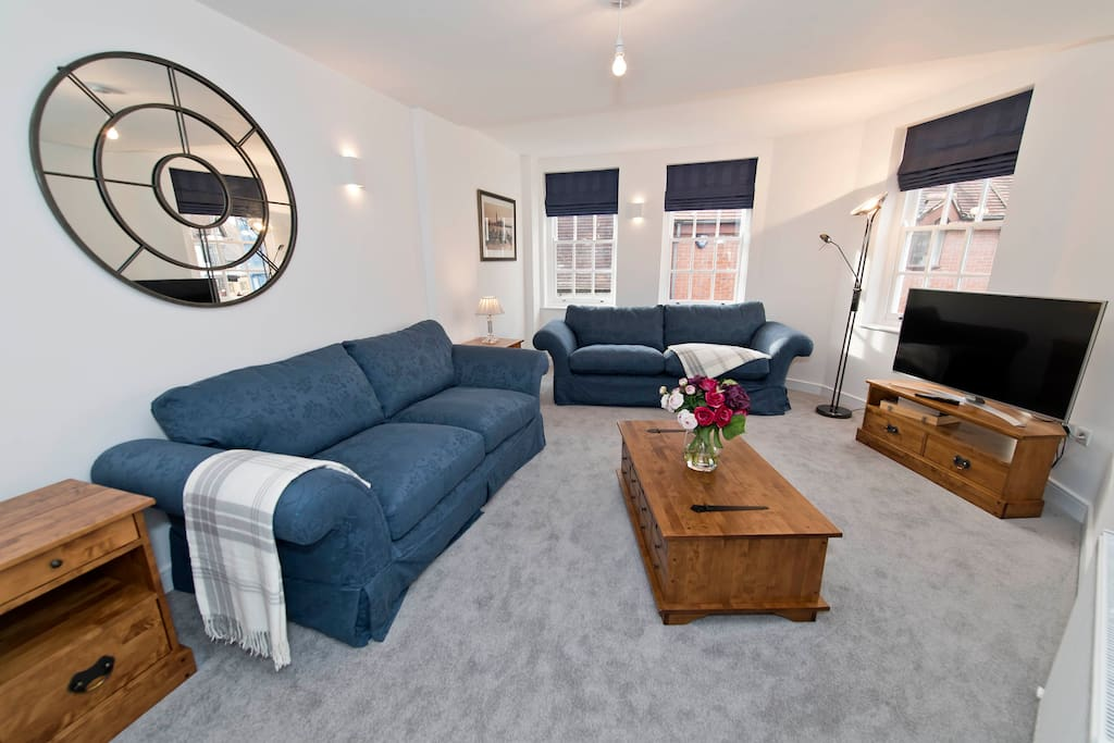 Living room with large sofa bed