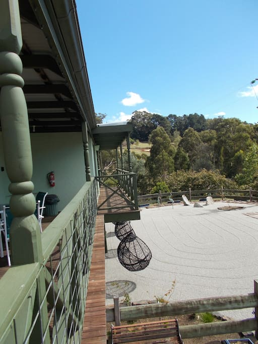 The view of the Zen garden and surrounding property and hills from your own private unit balcony.