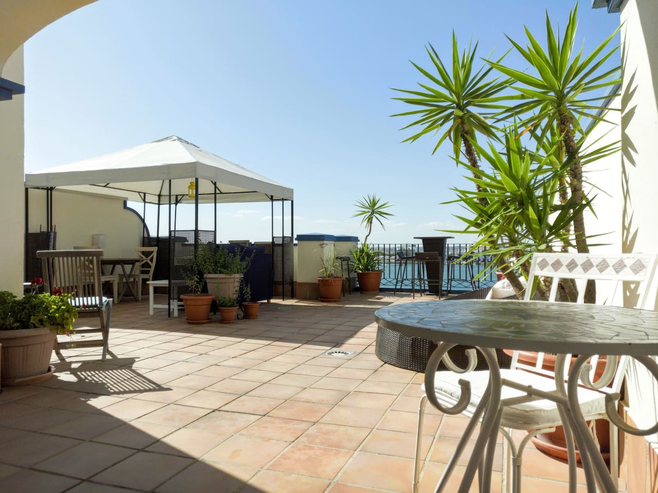 The terrace (145 m2) 2018 with several places to sit, lounche, enjoy the view or the sunset or having diner.