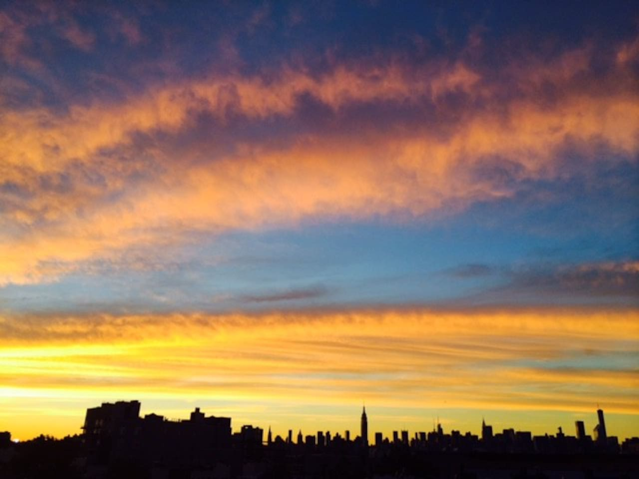 View of Manhattan skyline from the roof