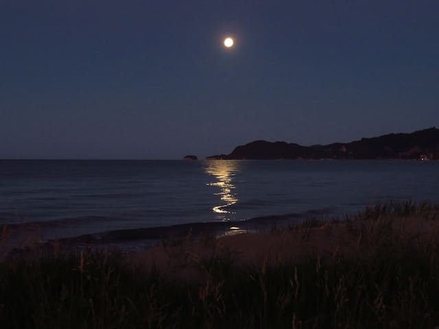 Full moon Summer Solstice at our local Pohara Beach