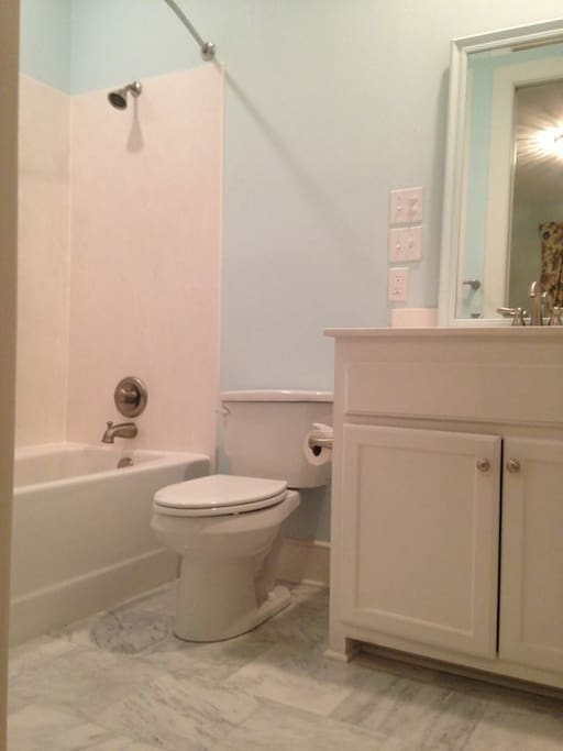 lovely marble bath in guest suite