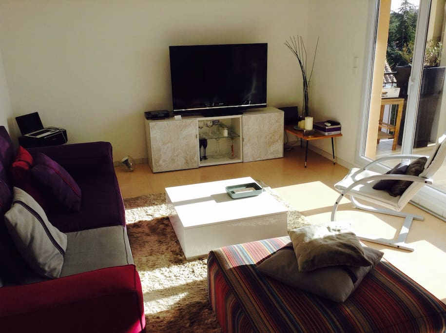 The shinny and warmy living room with internet access and TV.