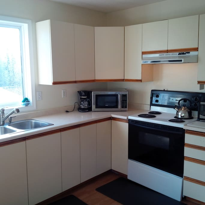 Kitchen with microwave, toaster oven and dishwasher