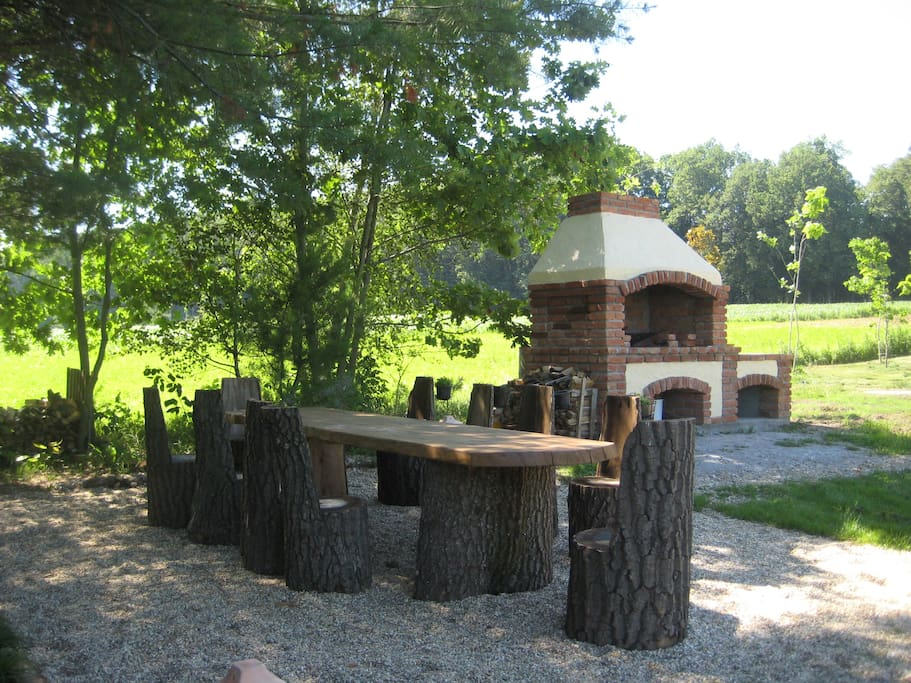 BBQ and seating in the cool shade