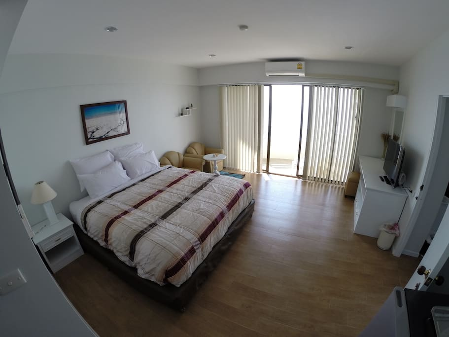 A 36 sq.m. double bedroom with king-size bed.