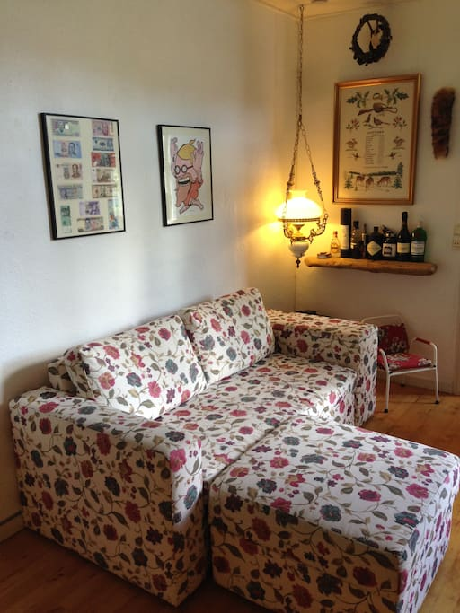 Stue med den fine blomstrede sovesofa