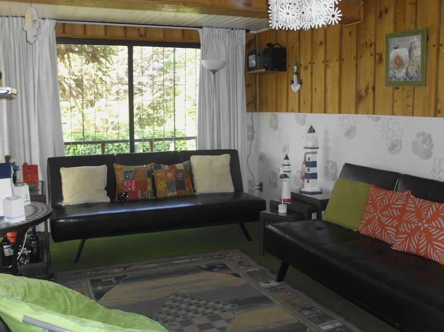 Living, TV por cable 60 canales, y sofa cama para persona extra