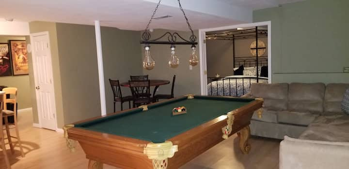 Whole lower level w/ Wet bar, Pool table, theater