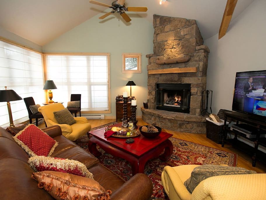 Vaulted Living Room with fireplace