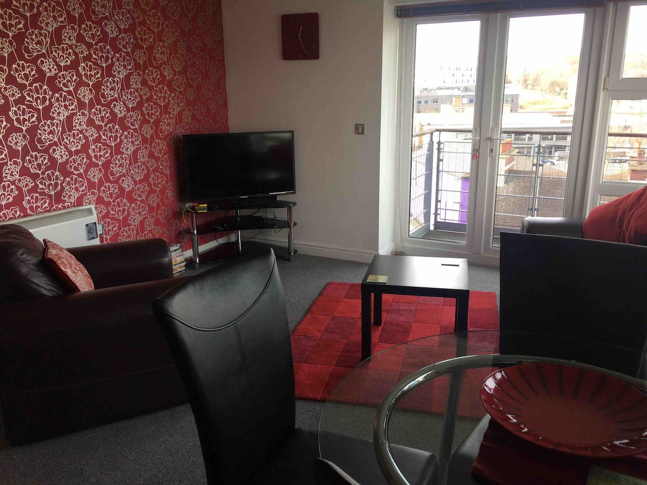 Great views across Newcastle from living area access to double balcony
