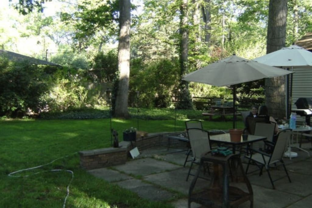 Seating for 14 with fire pit and gas grill