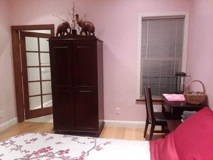 Quiet bedroom with private bathroom