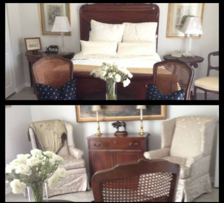 Large comfortable bedroom & seating area