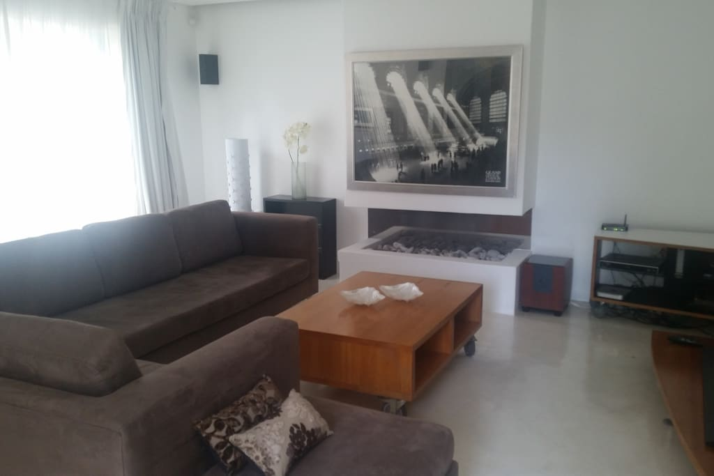 Lounge area with gas fire place