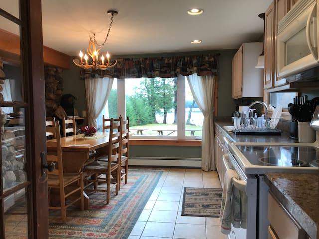 Kitchen and lake view