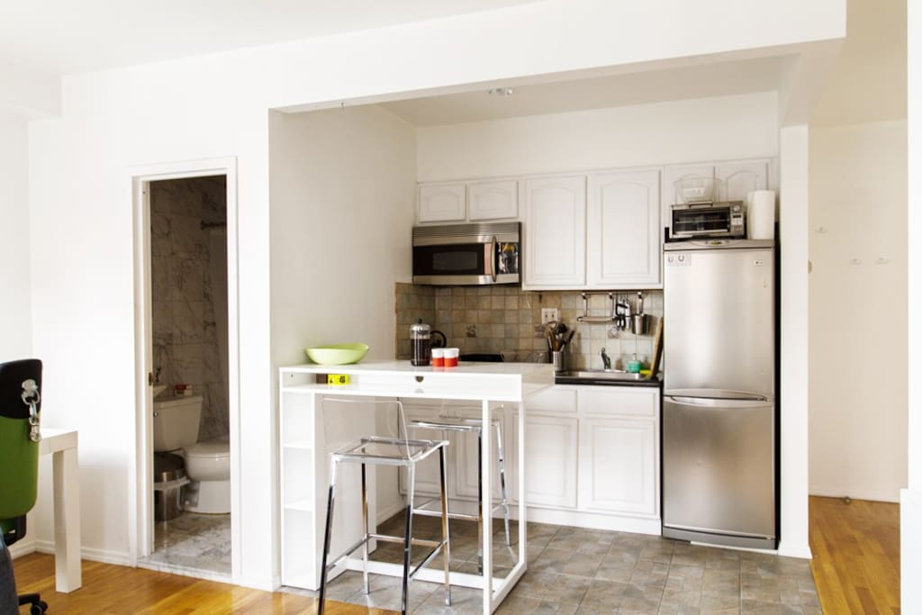 The kitchen is perfect for coffee and breakfast in the morning.