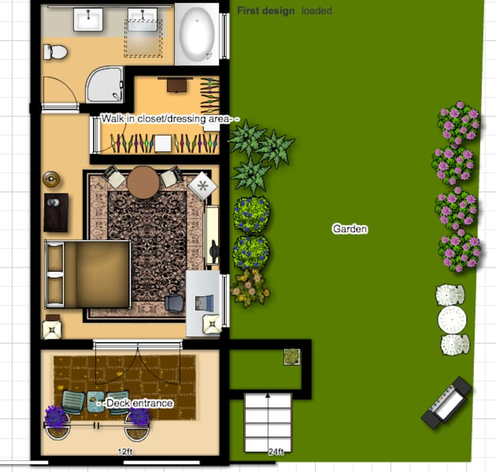 An idea of your suite layout- not exactly to scale, but close! 370 square feet mini suite. No kitchen. Microwave, mini fridge and more...even a guest BBQ